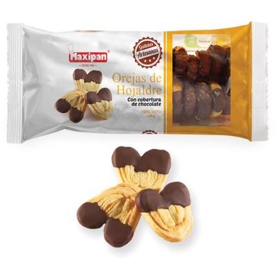 Orejas de hojaldre con cobertura de chocolate