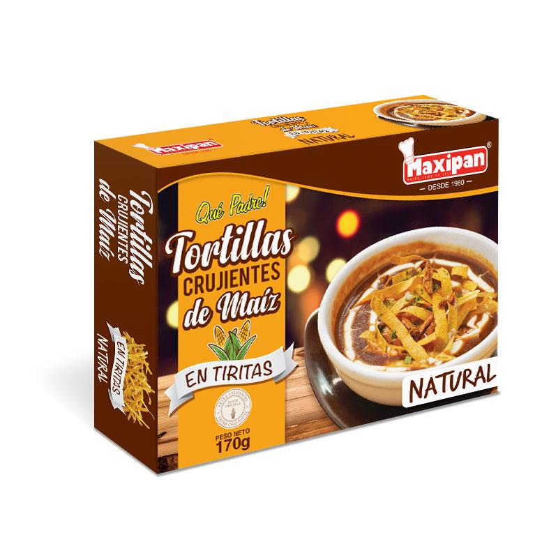 Tortillas crujientes de maíz en tiritas natural